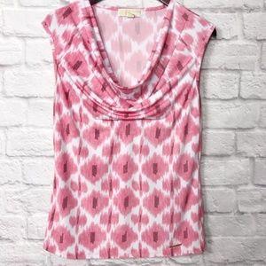 Michael Kors Sleeveless Pink Print Cowl Neck Top M